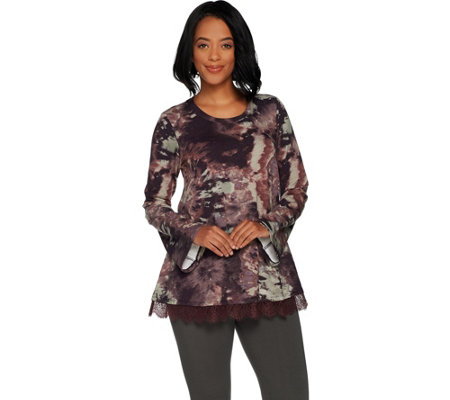 LOGO Lounge by Lori Goldstein Printed French Terry Swing Top w/ Lace at Hem