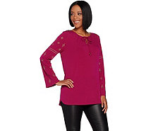 Susan Graver Liquid Knit Peasant Tunic with Metallic Detail - A297679