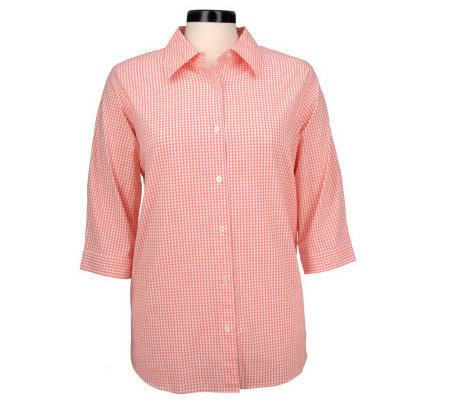 Denim & Co. Stretch Gingham 3/4 Sleeve Cuffed Shirt