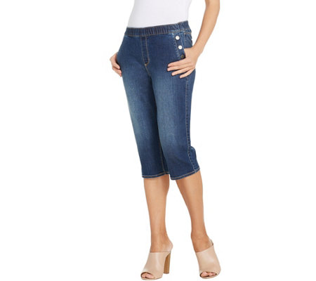 Susan Graver Hi Stretch Denim Pull-On Pedal Pushers w/ Button Trim