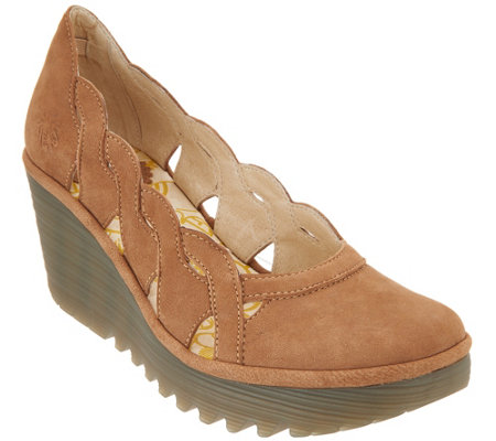 FLY London Leather Slip On Wedges - Yelk