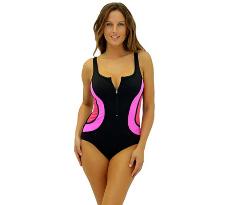Fit 4 Ur Tummy Zipper Tank Swim Suit