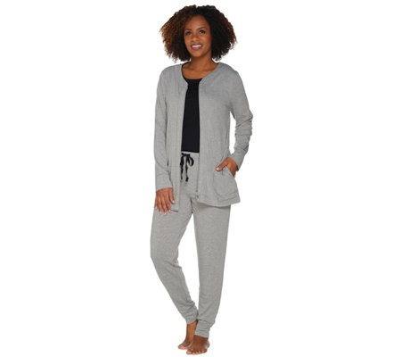 """As Is"" Carole Hochman French Terry 3 Piece Jogger Pant Lounge Set"
