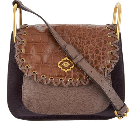 """As Is"" orYANY Croco Embossed & Pebble Leather Crossbody"