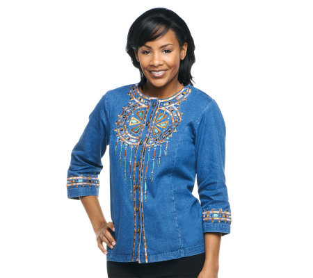 Bob Mackie's Santa Fe Dream Embroidered 3/4 Sleeve Jacket