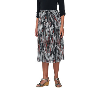 Linea by Louis Dell'Olio Feather Print Pull-on Pleated Skirt - A227580
