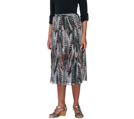 Linea by Louis Dell'Olio Feather Print Pull-on Pleated Skirt