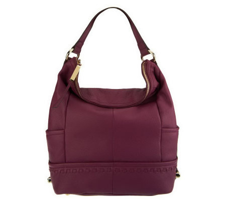 B. Makowsky Pebble Leather Zip-Top Hobo with Stitch Detail