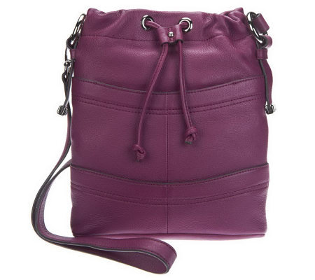 B.Makowsky Pebble Embossed Leather Drawstring Crossbody Bag