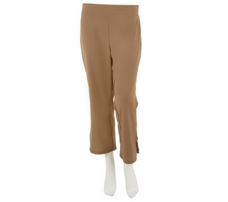 Women with Control Flat Front Crop Pants with Side Tab