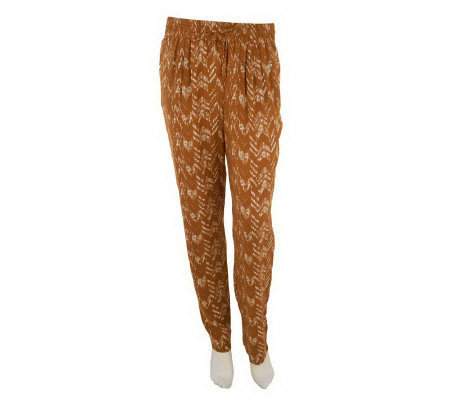 LOGO by Lori Goldstein Printed Pull-on Pants w/ Side Pockets