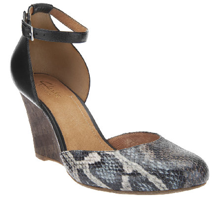 Clarks Artisan Closed Toe Wedges w/ Adj. Ankle Strap - Purity Hyline