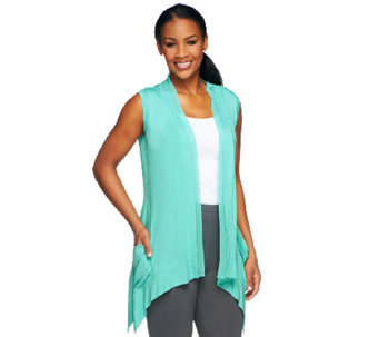 LOGO by Lori Goldstein V-Neck Vest with Chiffon Trim - A251180