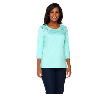 Quacker Factory Sparkle Eyelet Cut-out 3/4 Sleeve T-shirt