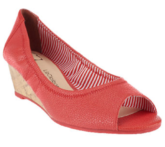 Liz Claiborne New York Slip-on Peep Toe Wedges - A251980
