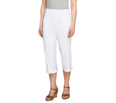 "Denim & Co. ""How Timeless"" Regular Capri Pants with Tab Detail"