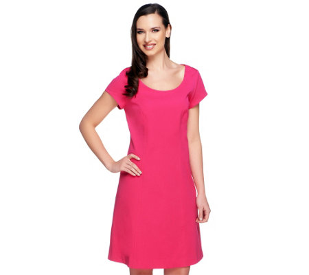 Isaac Mizrahi Live! 24/7 Stretch Short Sleeve Dress