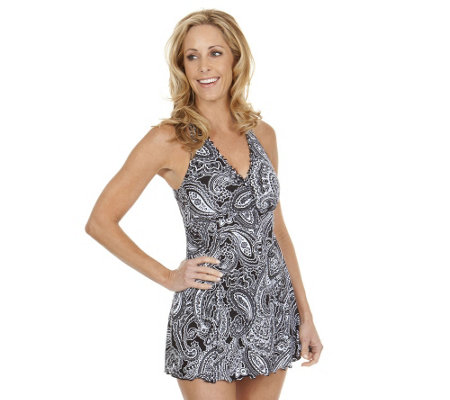 Liz Claiborne New York Paisley Print Swim Dress