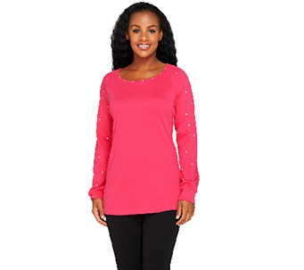 Quacker Factory Rhinestone Sleeve Knit Tunic - A256180