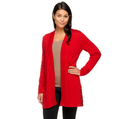 Susan Graver Weekend Cotton Acrylic Open Front Cardigan