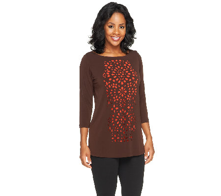 Susan Graver Liquid Knit 3/4 Sleeve Top with Cutout Design