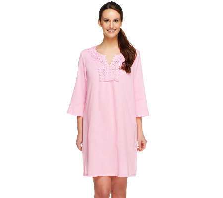 """As Is"" Denim & Co. Beach Gauze Cover-Up Tunic w/Lace Detail"