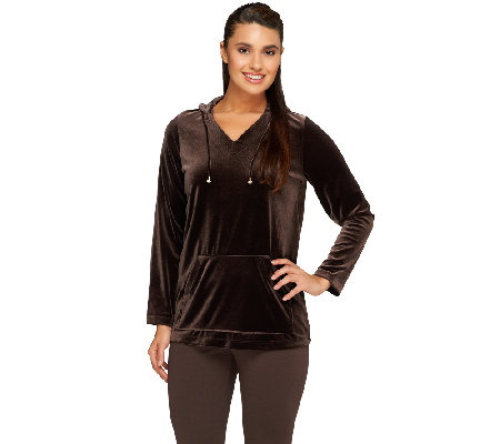 Susan Graver Stretch Velvet Long Sleeve Hooded Pullover