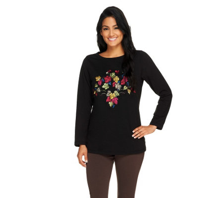 Susan Graver Weekend French Terry Top with Embroidery