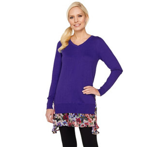 LOGO by Lori Goldstein Cotton Cashmere Sweater with Printed Hem - A261080