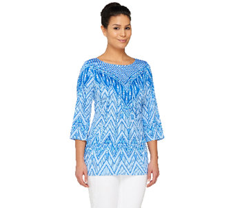 Bob Mackie's Printed 3/4 Sleeve Pullover Top - A261780