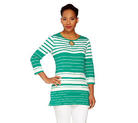 Liz Claiborne New York 3/4 Sleeve Striped Tee w/ Keyhole