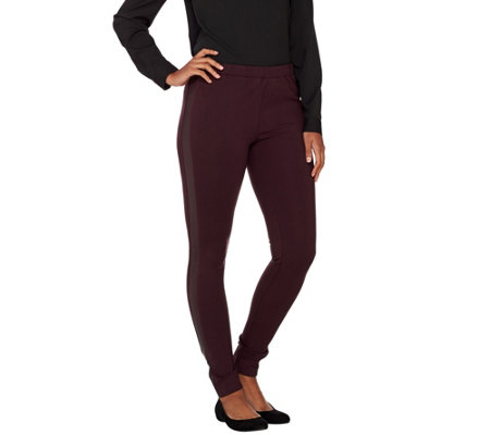 H by Halston Ponte Pull-On Leggings with Leather Tuxedo Stripe