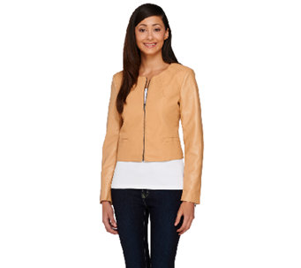 View by Walter Baker Cropped Long Sleeve Faux Leather Jacket - A263080