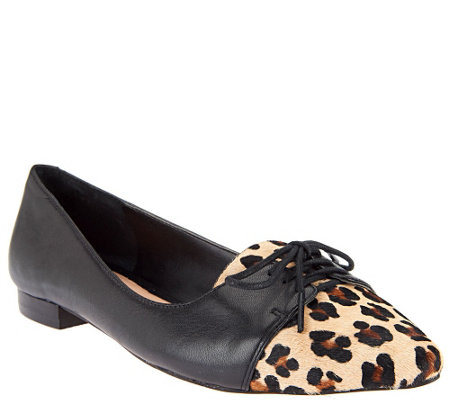 """As Is"" Sole Society Lillie Oxford Leather and Haircalf Flats"