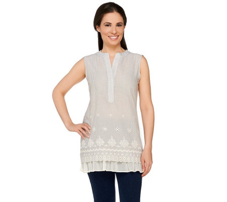 LOGO by Lori Goldstein Embroidered Stripe Tunic with Chiffon
