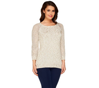 Liz Claiborne New York Pointelle and Knit Sweater - A266180