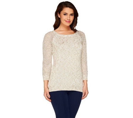Liz Claiborne New York Pointelle and Knit Sweater