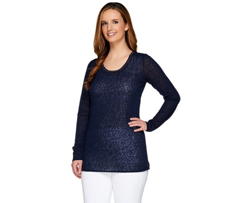 Kelly by Clinton Kelly Double Layer Top with Baby Chain Detail
