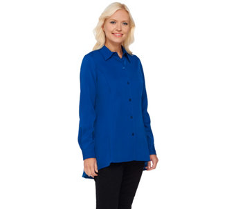 Linea by Louis Dell'Olio Asymmetrical Hem Button Down Top - A267880