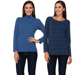 Bob Mackie's Set of Two Knit Striped Top and Solid Turtleneck Top - A268380