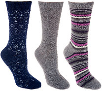 Cuddl Duds Plushfill Performance Outdoor Wool Socks Set of 3 - A268780