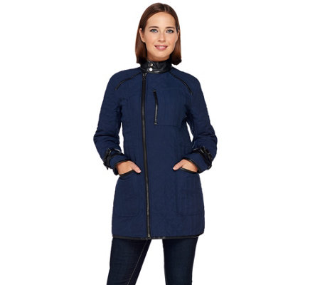 SA by Seth Aaron Quilted Coat w/ Faux Leather Detail
