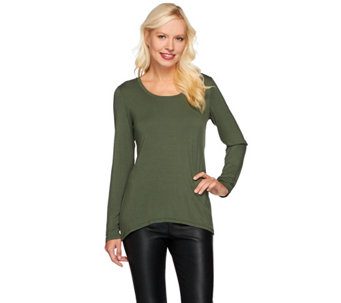 LOGO Layers by Lori Goldstein Long Sleeve Hi-Low Hem Knit Top - A269980