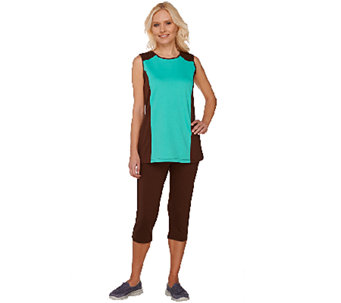 """As Is"" Denim & Co. Active Color-Block Knit Tank and Capri Set - A271980"