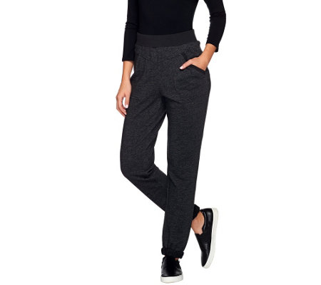 Denim & Co. Active French Terry Pants with Roll Cuff Detail