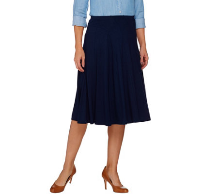 Susan Graver Dolce Knit Comfort Waist Skirt with Seaming Detail