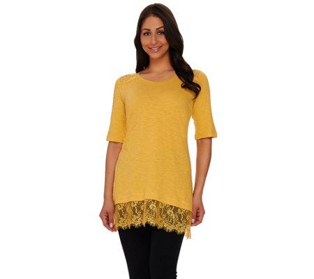 LOGO by Lori Goldstein Slub Knit Top with Lace Shoulders