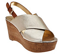 Marc Fisher Leather Cross-band Back-strap Wedges - Sesame - A274280