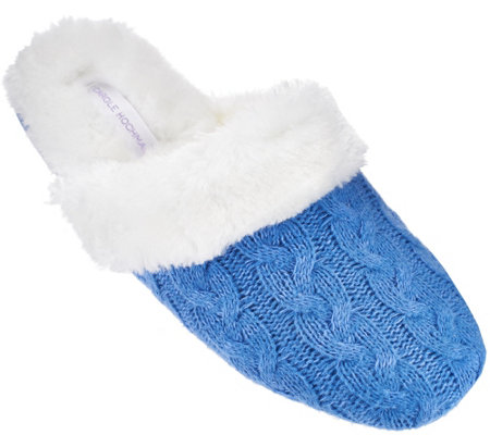Carole Hochman Plushfill Cashmere Cable Knit Mule Slippers