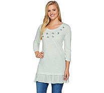 LOGO by Lori Goldstein Slub Knit Embellished Top with Hem Detail - A275780